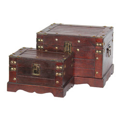 """Old Style Small Wooden Chest Set of Two - Approximate dimensions, Large: 9 1/4W x 7.9D x 6.5""""H Small: 7 3/8W x 5 2/8D x 4 5/8""""H"""