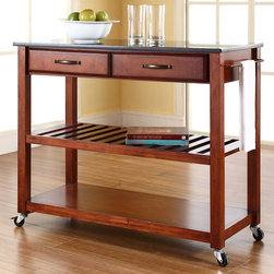 "Crosley - Kitchen Cart with Granite Top - Constructed of solid hardwood and wood veneers, this mobile kitchen cart is designed for longevity. The handsome raised panel drawer fronts provide the ultimate in style to dress up any culinary space. Two deep drawers are great for holding essential items, such as utensils or storage containers. The adjustable/removable shelf is great for appliances. Remove the shelf completely to allow for storing larger objects. The heavy duty casters provide the ultimate in mobility. Style, function, and quality make this mobile solution a wise addition to your home. Features: -Solid black granite top.-Raised panel drawer fronts.-Adjustable and removable shelf.-Towel bar.-Product Type: Kitchen cart.-Counter Finish: Granite.-Hardware Finish (Frame Finish: Black): Brushed Nickel.-Hardware Finish (Frame Finish: Cherry): Antique Brass.-Hardware Finish (Frame Finish: White): Brushed Nickel.-Distressed: No.-Powder Coated Finish: No.-Gloss Finish: No.-Base Material: Hardwood and veneers.-Hardware Material: Steel.-Solid Wood Construction: No.-Exterior Shelves: Yes -Number of Exterior Shelves: 1.-Adjustable Exterior Shelving: No..-Drawers Included: Yes -Number of Drawers: 2.-Push Through Drawer: No.-Dovetail Joints: No.-Drawer Dividers: No.-Drawer Handle Design: Handle.-Silverware Tray : No..-Cabinets Included: No.-Towel Rack: Yes -Removable Towel Rack: No..-Pot Rack: No.-Spice Rack: No.-Cutting Board: No.-Drop Leaf: No.-Drain Groove: No.-Trash Bin Compartment: No.-Stools Included: No.-Casters: Yes -Locking Casters: No.-Removable Casters: No..-Wine Rack: No.-Stemware Rack: No.-Cart Handles: No.-Swatch Available: No.-Commercial Use: No.-Recycled Content: No.-Eco-Friendly: No.-Product Care: Use a soft clean cloth that will not scratch the surface when dusting. Use of furniture polish is not necessary. Should you choose to use a furniture polish, test in an inconspicuous area first. Use of solvents of any kind could damage your furniture's finish. To clean, simply use a soft cloth moistened with lukewarm water, then buff with a dry soft clean cloth..Specifications: -ISTA 3A Certified: Yes.Dimensions: -Overall Height - Top to Bottom: 35"".-Overall Width - Side to Side: 41"".-Overall Depth - Front to Back: 17"".-Width Without Side Attachments: 35"".-Height Without Casters: 32.25"".-Countertop Thickness: 1"".-Countertop Width - Side to Side: 41"".-Countertop Depth - Front to Back: 17"".-Shelving: -Shelf Height - Top to Bottom: 12.25"".-Shelf Width - Side to Side: 37.5"".-Shelf Depth - Front to Back: 17""..-Drawer: -Drawer Interior Height - Top to Bottom: 2.5"".-Drawer Interior Width - Side to Side: 15.75"".-Drawer Interior Depth - Front to Back: 11.5""..-Overall Product Weight: 70 lbs.Assembly: -Assembly Required: Yes.-Tools Needed: Screwdriver (not included) and allen wrench (included).-Additional Parts Required: No.Warranty: -Product Warranty: 90 day limited warranty."