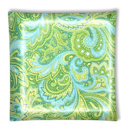 "Seaside Green and Blue Paisley Ceiling Light - 12"" square semi flushmount ceiling lamp with designer finish. Includes complete installation instructions and complete light fixture. Wipes clean with a damp cloth. Uses 2-60 watt bulbs (not included) and is made with eco-friendly/non-toxic products. This is not a licensed product, but is made with fully licensed products."