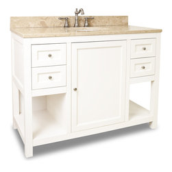 """Hardware Resources - Elements Bathroom Vanity - This 48"""" wide solid wood vanity features clean lines with a stepped door profile for a modern look. The Cream White finish is soft to complement most decor, yet bold enough to make a statement. With four working drawers, two on each side of a large cabinet with adjustable shelf, and open bottom shelves flanking the center cabinet, this vanity features ample storage space. Drawers are solid wood dovetailed drawer boxes fitted with soft-close full extension slides and the cabinet features integrated soft close hinges. This vanity has a 2.5 cm engineered Emperador Light marble top preassembled with an H8810WH (17"""" x 14"""") bowl, cut for 8"""" faucet spread, and corresponding 2 cm x 4"""" tall backsplash. Overall Measurements: 48"""" x 22"""" x 36"""" (measurements taken from the widest point) - Faucet must be purchased separately."""