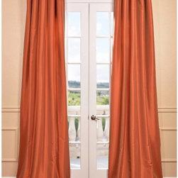 Harvest Orange Faux Silk Taffeta Curtain Panel -