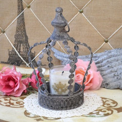 Small Distressed Crown Candleholder in Grey - Decorate with style with this lovely vintage looking crown. A removeable tray on the inside can be used to hold a pillar candle (not included.) The ring on top allows it to be hung.