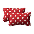 Pillow Perfect - Decorative Red/White Polka Dot Toss Pillow Rectangle  Set of Two - - Red/White  - 100% Polyester  - 100% Virgin Recycled Polyester Fill  - Self-Cord Edge  - Fade Resistant Mildew Resistant UV Protection Water Resistant Weather Resistant  - Made in USA Pillow Perfect - 386973