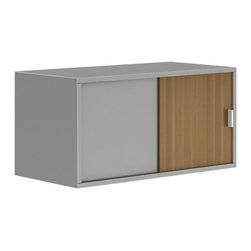 Turnstone - Tour HV Cabinet - The Tour HV Cabinet features two shelves and optional sliding doors. The shelves can be configured either vertically or horizontally. Able to serve as a top cabinet to the Tour Pile File, the HV Cabinet works just fine on its own wherever you need storage. Steel frame and shelves, optional laminate or translucent doors.