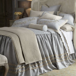 """Amity Home - Amity Home 18""""Sq. Striped Pillow with Natural Flange - Bonne Nuit and """"Bonjour"""" are written in ruffles on reversible shams, giving this blue and natural bed linens collection irresistible French charm. All are made of linen except sheets. Skirted coverlets/duvet covers have a 30"""" drop, three rows of r..."""