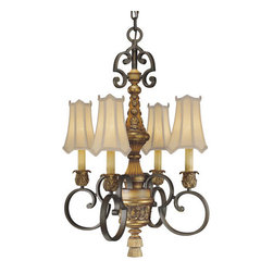 Metropolitan - Metropolitan N6004 Four Light Up Lighting Chandelier from the Habana Nights Coll - Tuscan Four Light Up Lighting Chandelier from the Habana Nights CollectionSince 1939, the Metropolitan™ Lighting Fixture Co. has been proudly illuminating the finest interiors with antique reproduction lighting fixtures made from alabaster, brass, bronze, iron, wood and mouth blown Murano glass. Although Metropolitan looks forward to the future with great anticipation, they are ever mindful of their heritage in the past.The warm glow of sculpted Habana Washed Glass, paired with the rich tones of the Habana Night with Gold Leaf finish gives it the feel of traditional Spanish style. The craftsmanship is evident in the delicate accents and scrollwork of these beautifully detailed fixtures.Features: