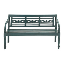 Simple and Comfortable Wood Blue Bench - Description: