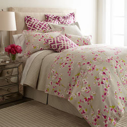 "Legacy Home - Legacy Home King Floral Duvet Cover, 102"" x 96"" - We love the contrast of soft gray and vivid cherry blossom tones on these bed linens from Legacy Home. Floral and pergola patterns are linen. Solid gray matelasse linens and tailored dust skirts are cotton/polyester. Matelasse coverlets have a 2"" mit..."