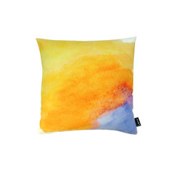 Lava - Sunset 18 x 18 Pillow (Indoor/Outdoor) - 100% polyester cover and fill. Backed with solid Sunbrella outdoor fabric. Zippered Closure with 100% polyester filled insert. Made in USA. Spot clean only. Safe for use indoors or out.