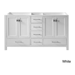 VIRTU - Virtu USA Caroline Avenue 60-inch Double Sink Bathroom Cabinet Only - The Caroline Avenue 60-inch double sink vanity set is equipped with four soft closing doors,and six soft closing drawers.