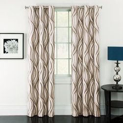 Window Accents - Window Accents Celestina Wave Jacquard Grommet Panel Pair - 29-41342SIL - Shop for Curtains and Drapes from Hayneedle.com! Modern and stylish the Window Accents Celestina Wave Jacquard Grommet Panel Pair frame your windows perfectly. This set includes two curtain panels with intersecting waves of color. Radiant in any room. These wide drapes can lower home heating and cooling costs by up to 25%! They also block out 99% of outside light and 40% of outside noise so are ideal for your urban loft space. All this yet they still maintain the natural shape and softness of regular curtain panels and are machine-washable. Talk about convenient. They feature a modern grommet design to hang easily from a decorative rod and present a streamlined look.About Arlee Home FashionsArlee Home Fashions Inc. manufactures and markets household textiles like decorative pillows chair pads floor cushions curtains table linens and pet beds. The company was incorporated in 1976 and is based in New York New York.