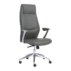 """Eurostyle - Eurostyle Crosby High Back Office Chair in Gray & Aluminum - High Back Office Chair in Gray & Aluminum belongs to Crosby Collection by Eurostyle The seat and back of the chair is made of leatherette over foam, and the frame is laminated wood. In addition, the chair has a synchronous mechanism with four locking positions with an aluminum base. Available in white and gray color. Feature Leatherette seat and back over foam. Laminated wood frame. Leatherette padded armrests. Synchronous mechanism with four locking positions. Aluminum base PU casters with stainless steel hood. Dimension 25""""L x 27""""W x 49""""H. Office Chair (1)"""
