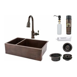 "Premier-Copper-Products - 33"" Copper Apron 25/75 Sink w/ORB Faucet - KSP2_KA25DB33229 Premier Copper Products 33 Inch Hammered Copper Kitchen Apron 25/75 Double Basin Sink with ORB Pull Down Faucet, Matching Drains, and Accessories."