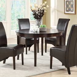 Monarch Specialties - Monarch Specialties 1740-1776BR 5 Piece Round Dining Room Set in Dark Espresso - This dining table offers rich design and transitional styling that invites a relaxed setting into your home. Finished in a dark espresso  this clean lined 48 round dining table will create the perfect look for intimate dinners or casual get togethers. This piece features thick block legs and a large eating area to accommodate all your friends.