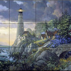 The Tile Mural Store (USA) - Tile Mural - Coastline Watch - Kitchen Backsplash Ideas - This beautiful artwork by Douglas Laird has been digitally reproduced for tiles and depicts a lighthouse aside a hillside home.  Our lighthouse tile murals and nautical themed decorative tiles are perfect as part of your kitchen backsplash tile project or your tub and shower surround bathroom tile project. Lighthouse images on tiles add a unique element to your tiling project and are a great kitchen backsplash idea. Use a lighthouse scene tile mural for a wall tile project in any room in your home where you want to add interest to a plain field of wall tile.