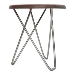 Delta Stool, Stainless Steel Legs - This stool is a stunner with its curvy silver legs.
