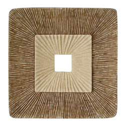 """Screen Gems - Screen Gems Concave Square Double Layer Ribbed Wall Plaque - 26"""" x 2"""" (Set of 2) - The nature sand color finished Sandston wall Art - Set of 2 offers something truly unique for your interior space. The unpredictable process of decay is on display here as the wall art presents a cross-section of what a rotting tree might look like."""