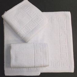 SALBAKOS - Salbakos Greek Key Pattern Bath Mat (Set of 3) - Step onto these smooth bath mats after a hot shower for maximum comfort. This set includes three mats made of the finest Turkish cotton,making them machine washable. The Greek key pattern along the edges gives the mats an ornate look.