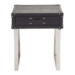 Fantastic Stainless Steel Wood Leather Side Table - Description: