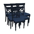 EuroLux Home - Side Chair Blue Painted Hardwood Cross - Item #: TW-1370