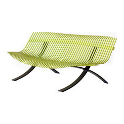 """Fermob - Charivari 97"""" Bench - Fermob - The Charivari bench base is made of steel and its seat is made of curved aluminum slats. It is 97"""" long and fits 5 to 6 people. The steel base has a cataphoresis finish which is a very high protection treatment for outdoor use. 3 Year Guarantee."""