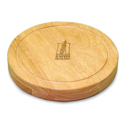 "Picnic Time - Murray State University Circo Cheese Board - The Circo by Picnic Time is so compact and convenient, you'll wonder how you ever got by without it! This 10.2"" (diameter) x 1.6"" circular chopping board is made of eco-friendly rubberwood, a hardwood known for its rich grain and durability. The board swivels open to reveal four stainless steel cheese tools with rubberwood handles. The tools include: 1 cheese cleaver (for crumbly cheeses), 1 cheese plane (for semi-hard to hard cheese slices), 1 fork-tipped cheese knife, and 1 hard cheese knife/spreader. The board has over 82 square inches of cutting surface and features recessed moat along the board's edge to catch cheese brine or juice from cut fruit. The Circo makes a thoughtful gift for any cheese connoisseur!; College Name: Murray State University; Mascot: Racers; Decoration: Laser Engraving; Includes: 1 cheese cleaver (for crumbly cheeses), 1 cheese plane (for semi-hard to hard cheese slices), 1 fork-tipped cheese knife, and 1 hard cheese knife/spreader"
