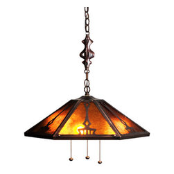 """Meyda Tiffany - 18""""W Grenway Amber Mica Pendant - In the Arts & Crafts tradition, Meyda Tiffany introduces this original design. Inspired by the handcrafted Nouveau style American art movement. These handsome, Mahogany Bronze finished pierced shades with genuine Amber mica panels are a perfect match to the hand finished carved pendant hardware. A warm and elegant way to illuminate your surroundings."""
