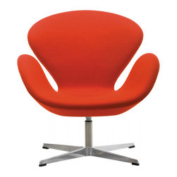 Swan Chair, Red - Every aspect of our Swan chair has been carefully designed and fabricated to the utmost quality in keeping with the original goal of the designer himself. In every sense of the word this chairs is a true classic that will never go out of style.