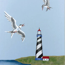 """Stencil Ease - Lighthouse & Terns Garden Gate Mural Stencil - Lighthouse & Terns Garden Gate Mural Stencil Contains: 4 - 9"""" x 18"""" Stencil Sheets Actual size: Lighthouse and Island: 21.5"""" wide x 10"""" high (54.61cm x 25.40cm) Large Tern: 5.5"""" wide x 8"""" high (13.97 cm x 20.32 cm) Small Tern: 3"""" wide x 5.75 high (7.62 cm x 14.61 cm) This stencil may be used alone or in combination with other Garden Gate Stencils. This design was painted using the following Americana Acrylic stencil paint colors: MDA02199 Primary Red MDA02067 Black MDA02001 Titanium White MDA02200 Primary Blue MDA02052 Avocado MDA02171 Driftwood MDA02036 True Blue MDA02061 Sable Brown MDA02068 Slate Grey Complete kit comes with stencils paints and 1 TT10068 double-ended stencil brush."""
