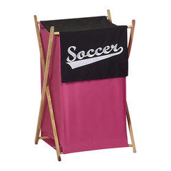 Sweet Jojo Designs - Pink Soccer Clothes Hamper - The Soccer Pink laundry hamper will help complete the look of your Sweet Jojo Designs room. This adorable laundry clothes hamper includes a wooden frame, mesh liner and fabric cover. The removable hamper body is secured to the wooden frame with corner loops and Velcro. The wooden stand folds flat for space-saving storage and the removable mesh liner is great for toting laundry. Dimensions: 26.5in. x 15.5in. x 16in.