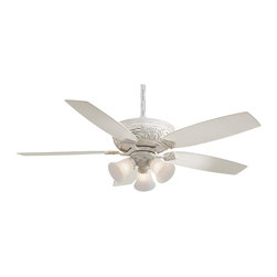 Minka Aire - Minka Aire F759-PBL Classica Ceiling Fan - Traditional Ceiling Fan in Provencal Blanc with Etched glass from the Classica Collection by Minka Aire.