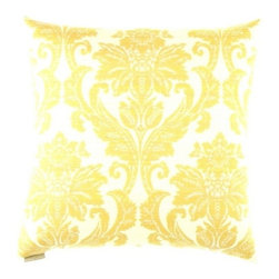 "Canaan - 24"" x 24"" Beatrice Yellow Damask Pattern Throw Pillow - Beatrice yellow damask pattern throw pillow with a feather/down insert and zippered removable cover. These pillows feature a zippered removable 24"" x 24"" cover with a feather/down insert. Measures 24"" x 24"". These are custom made in the U.S.A and take 4-6 weeks lead time for production."