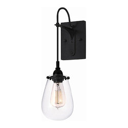 Modern Iron and Clear Glass Shade Wall Sconce -