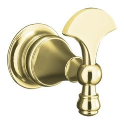 """KOHLER - KOHLER K-16146-PB Revival Robe Hook in Polished Brass - KOHLER K-16146-PB Revival Robe Hook in Polished BrassBlending European style and early American influences, Revival accessories bring elegant continuity, completing your room design down to the important details. The robe hook harmonizes perfectly with KOHLER Revival faucets and fixtures as it keeps your favorite robe at the ready. Solid brass construction ensures durability and reliability for years of lasting beauty.KOHLER K-16146-PB Revival Robe Hook in Polished Brass, Features:• 2-3/8""""W x 3-3/4""""D x 3-3/4""""H"""