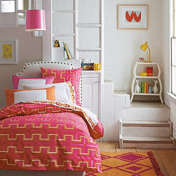 Sally Duvet Cover - Pink and orange is such a fresh color scheme for a girl's room. I love the geometric print on this one that keeps it from looking too sweet.