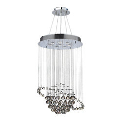 """Worldwide Lighting - Saturn 8-Light Chrome Finish Crystal Galaxy Chandelier 22"""" x 36"""" - This stunning 8-light Crystal Chandelier only uses the best quality material and workmanship ensuring a beautiful heirloom quality piece. Featuring a radiant chrome finish and finely cut premium grade clear crystals with a lead content of 30%, this elegant chandelier will give any room sparkle and glamour. Dual-mount option for flush or suspension. Worldwide Lighting Corporation is a privately owned manufacturer of high quality crystal chandeliers, pendants, surface mounts, sconces and custom decorative lighting products for the residential, hospitality and commercial building markets. Our high quality crystals meet all standards of perfection, possessing lead oxide of 30% that is above industry standards and can be seen in prestigious homes, hotels, restaurants, casinos, and churches across the country. Our mission is to enhance your lighting needs with exceptional quality fixtures at a reasonable price."""