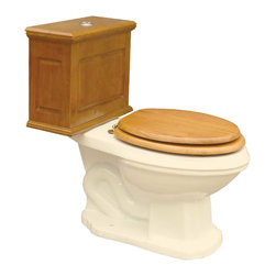Renovators Supply - Toilets Bone Lowboy Flat Panel Elongated Light Oak Finish - Lowboy Toilets: Old World Charm with 21st Century technology. Save WATER & MONEY with Renovator's water-saving dual flush system that offers both a 0.8 or 1.6 gallon flush. Discrete & handy the top button let��_��__��_s you control the flush flow needed. Its solid wood Flat Panel tank has a light oak finish. Includes solid wood tank & liner, supply line, angle stop, mounting hardware & Grade A vitreous elongated bowl. Toilet seat and toilet bolt covers not included.