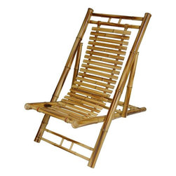 Oriental Furniture - Japanese Bamboo Folding Chair - A unique Asian style rustic chair, a Japanese design alternative to the American Adirondack chair. It's a beautiful, practical piece, hand crafted from whole and split bamboo. Japanese design tends to give equal weight to form and function; hence a convenient and attractive folding, easy to ship, move, and store when not in use.