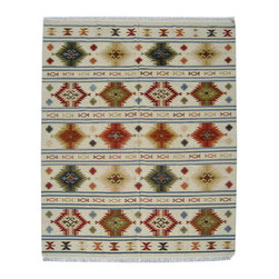 Individual - An 8'x10' Geometric Flat Weave Rug - This is an authentic handmade rug. If you are looking for an 8' x 10' Flat weave or Kilim with geometric pattern and primitive motif, this would be a right call. It measures 8' x 10', hand knotted in India and is made of wool on cotton foundation and we have offered at the trade value to our Houzz clients.