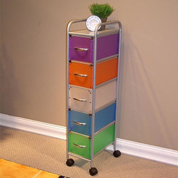4D Concepts - 5 Drawer Multi-Colored Chest - Add a splash of color to your home office. Multi-colored office cart offers five drawers in five different colors. Frame is metal with a silver finish. Features top shelf and wheels for easy transportation. Drawers open and close easily. Store any number of supplies or knick knacks. 5 drawer narrow storage tower you can add that needed storage. Multi colored foldable polypropylene drawers snap together with silver buttons. Decorative silver lip around the top of the drawer. Silver curved handles make it easy to pull the drawer in and out of the unit. Frame is made out of metal. Powder coated to give it a durable surface. Five drawers rest on the metal rails of the frame. Stop in the back. Rounded top snaps onto the rails on assembly. 2 in. casters make this unit easy to move around the home. Clean with a dry non abrasive cloth. Some assembly required. 9.75 in. W x 14.75 in. D x 44.5 in. H