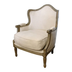 Kathy Kuo Home - Juelle French Country Barrel Back Linen Salon Chair - This chair puts the ooh in ooh la la! As comfortable as it is stylish, it provides the perfect spot for you to curl up with a good book and a cup of coffee — or glass of wine!