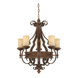 Quoizel - Quoizel LR5005RZ Laredo 5 Light Chandeliers in Rustic Bronze - This European inspired design reflects old world charm and striking attention to detail. The curved and angled arms provide a wonderful contrast to the twisted motif that runs along the edges of the framework. The amber Scavo glass shades have been created with a dripping wax effect for a distinguished, dramatic look.