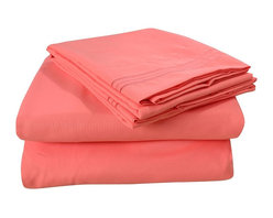 Honeymoon - Honeymoon super soft 4PC Bed Sheet Set, Easy Care, Coral, Full - Microfiber polyester