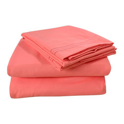 Honeymoon - Honeymoon super soft 4PC Bed Sheet Set, Easy Care, Coral, Full - Microfiber polyester