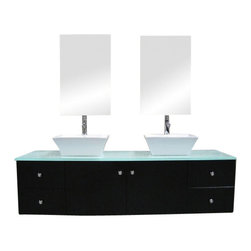 "Design Element - Design Element DEC071A Portland 61"" Double Sink - Wall Mount Vanity Set - Design Element DEC071A Portland 61"" Double Sink - Wall Mount Vanity Set in Espresso"