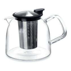 ForLIFE - FORLIFE Bell Glass Teapot with Basket Infuser 43 oz., Black - The stylish bell-shaped glass teapot, complete with the Basket Infuser with handle and the Push-on-Lid, allows you to remove the infuser easily.