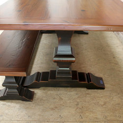 Reclaimed Trestle Base Dining Tables - Made by http://www.lakeandmountainhome.com
