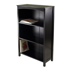 Winsome Wood - 4-Tier Storage Shelf in Espresso Finish - Made from composite wood. Assembly required. Top shelf: 23.54 in. W x 10.63 in. D x 12.80 in. H. Other shelves: 12.32 in. H. Overall: 26 in. W x 11.8 in. D x 43 in. H. Terrace storage shelf collection is perfect to use alone or pair with baskets and create a place for your goodies.