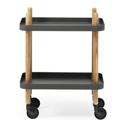 Peggy Cart Table in Gray - From its peg legs that extend into handles to its happy shelves, this useful wheeled table exudes retro charm. Roll it from room to room for use as a nightstand, side table, bar cart, printer cart, and many other great options.