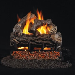Real Fyre Golden Oak Designer Plus Vented Gas Log Set - In thick-barked oak, the Real Fyre Golden Oak Designer Plus Vented Gas Log Set brings warmth and realism to your direct vent fireplace. This hand-painted refractory ceramic log set is modeled from real wood samples, with realism, texture, and nuance straight from nature. They burn efficiently while protecting natural resources and reducing pollution, providing real radiant heat for your home. Each is supported by steel rods in the center, and artfully placed about a steel burner and powder-coated grate. Choose 18 or 24 inches to fit your standard direct vent fireplace Choose propane or natural gas power source Silica sand and platinum embers included with every model Optional pilot kit and remote control Manufacturer's lifetime warranty included Heating Output Propane 18-inch: 45,000 BTU Propane 24-inch: 65,000 BTU Natural gas 18-inch: 70,000 BTU Natural gas 24-inch: 90,000 BTU Note: It is recommended that you use a professional installer to ensure the safety of the exhaust system. A licensed contractor should be contacted for installation of all products involving gas lines. About Real FyreReal Fyre understands more about the amazing things that happen when flame and good food meet. For the last 70 years, they've set out to create the singularly best way to cook food outdoors, using the highest-quality materials, innovative design, and an absolutely relentless pursuit of perfection. With a complete line of luxury-grade grills, burners, accessories, and built-in grill island components, Real Fyre is ready to turn your home into the world's best outdoor kitchen.